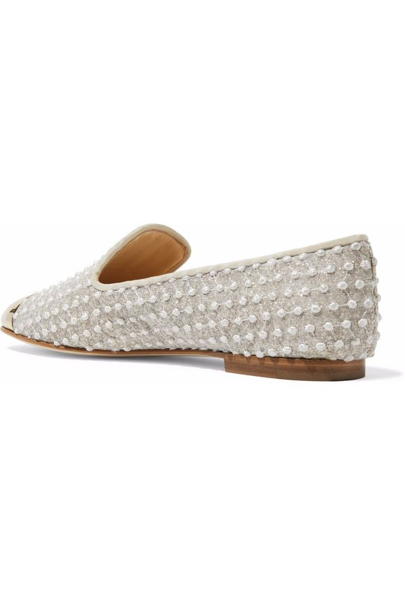 Embroidered gauze and embellished leather slippers | GIUSEPPE ZANOTTI DESIGN  | Sale up to 70% off | THE OUTNET