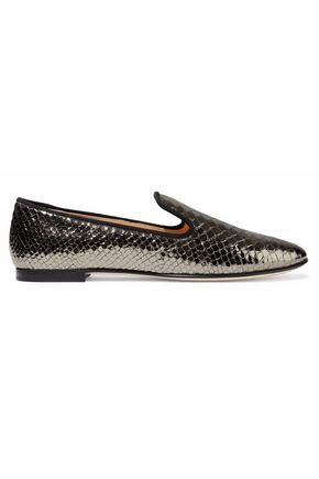 GIUSEPPE ZANOTTI DESIGN Metallic snake-effect leather slippers
