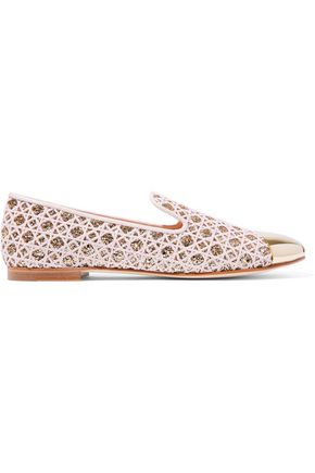 7fe729cd5f741 Embroidered glittered leather slippers | GIUSEPPE ZANOTTI | Sale up ...