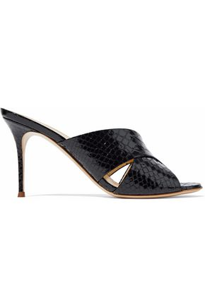GIUSEPPE ZANOTTI DESIGN Snake-effect patent-leather mules