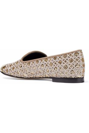GIUSEPPE ZANOTTI Embroidered glittered leather slippers