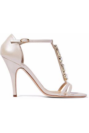 GIUSEPPE ZANOTTI DESIGN Crystal-embellished leather sandals
