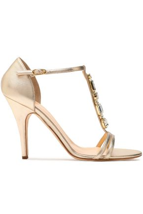 GIUSEPPE ZANOTTI DESIGN Crystal-embellished metallic leather sandals