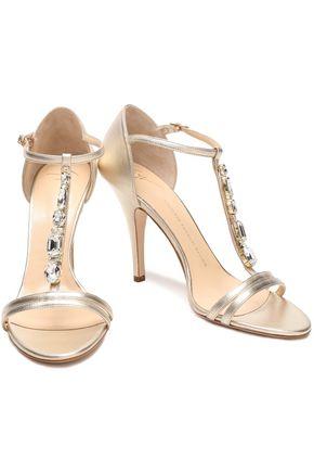 a135d33f2e9875 GIUSEPPE ZANOTTI Crystal-embellished metallic leather sandals