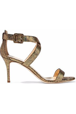 GIUSEPPE ZANOTTI DESIGN Iridescent stingray-effect leather sandals