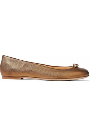 GIUSEPPE ZANOTTI DESIGN Crystal-embellished metallic leather ballet flats