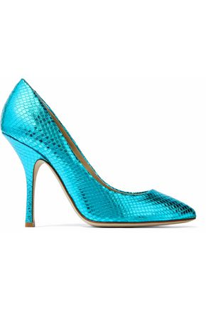 GIUSEPPE ZANOTTI DESIGN Metallic snake-effect leather pumps