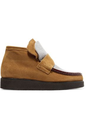 ACNE STUDIOS Kingston paneled suede and felt ankle boots