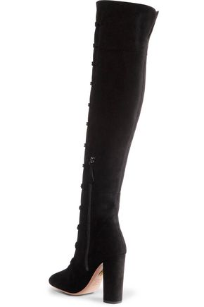 AQUAZZURA Rasputine embellished suede over-the-knee boots