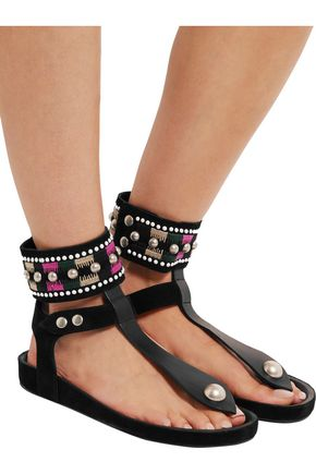 ISABEL MARANT Lise embellished suede and leather sandals