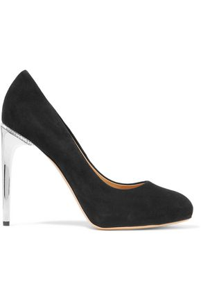SALVATORE FERRAGAMO Embellished suede pumps
