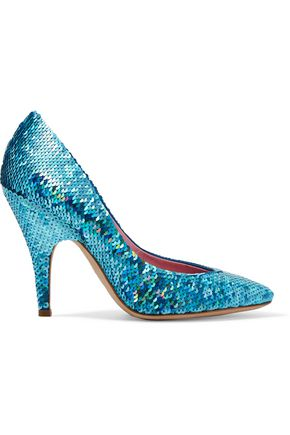 MOSCHINO Sequined leather pumps