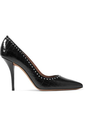 GIVENCHY Studded croc-effect glossed-leather pumps