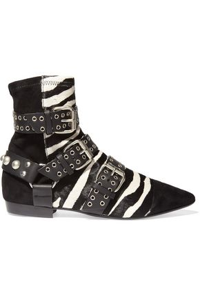 ISABEL MARANT Embellished leather-trimmed suede and zebra-print calf hair ankle boots