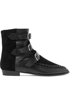 ISABEL MARANT Rowi leather-paneled suede ankle boots