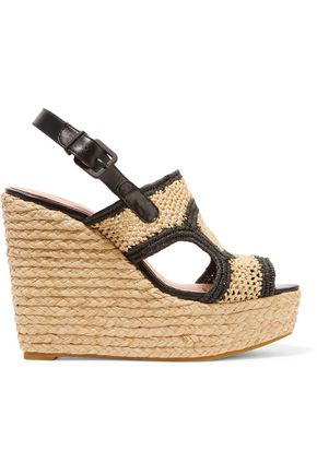 ROBERT CLERGERIE Drastic leather-trimmed braided raffia slingback wedge sandals
