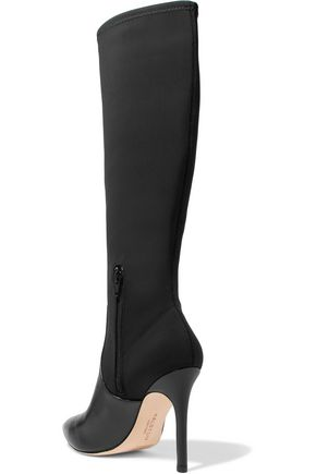 HALSTON HERITAGE Melissa Lycra and leather knee boots