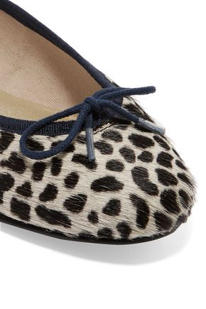 FRENCH SOLE Leopard-print calf hair ballet flats