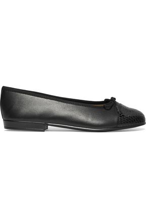 FRENCH SOLE Bow-embellished paneled leather ballet flats