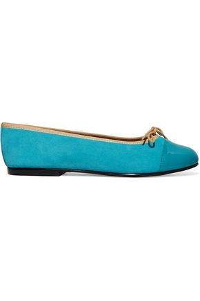 FRENCH SOLE Patent leather-paneled suede ballet flats