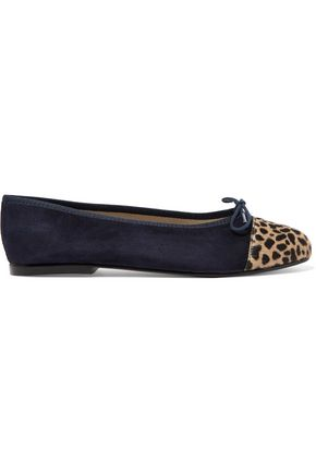 FRENCH SOLE Suede and printed calf hair ballet flats