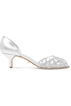 SERGIO ROSSI Metallic crystal-embellished cutout leather sandals
