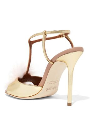 MALONE SOULIERS Betsy cashmere and metallic leather sandals