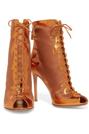 GIANVITO ROSSI Metallic leather and satin ankle boots