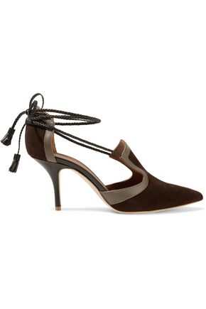 MALONE SOULIERS Haji lace-up leather-trimmed suede pumps