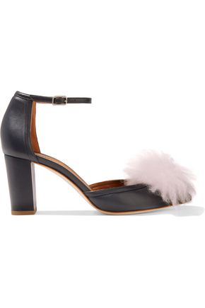MALONE SOULIERS Cashmere pompom-embellished leather pumps