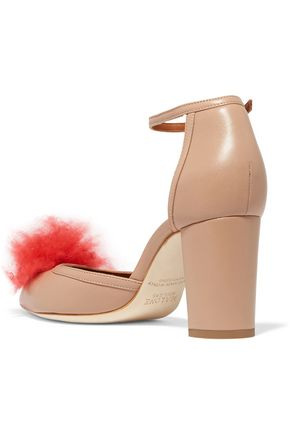 MALONE SOULIERS Jan cashmere pompom-embellished leather pumps