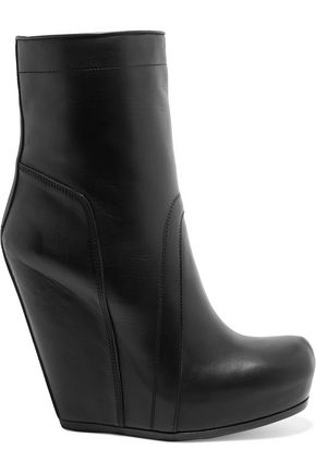 RICK OWENS Leather wedge ankle boots