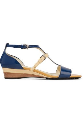 TOD'S Color-block patent and smooth leather wedge sandals