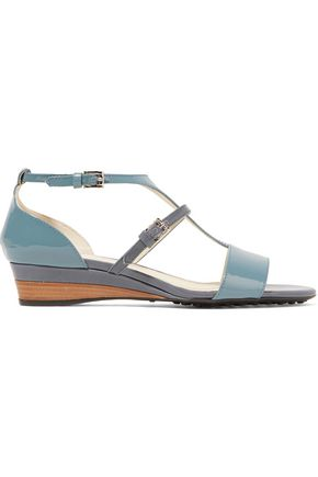 TOD'S Two-tone glossed-leather sandals