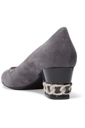 CASADEI Embellished suede pumps