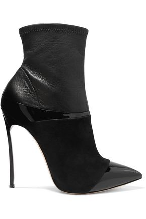 CASADEI Paneled suede and leather ankle boots