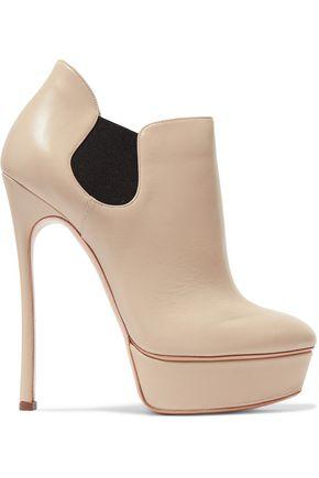 CASADEI Leather platform ankle boots