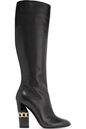 CASADEI Embellished leather knee boots