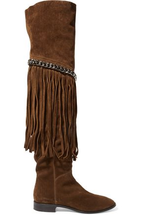 CASADEI Fringed chain-embellished suede over-the-knee boots