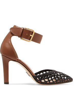 PAUL ANDREW Ragnar smooth and woven leather pumps