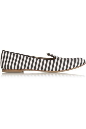 GIUSEPPE ZANOTTI Leather-trimmed striped twill slippers