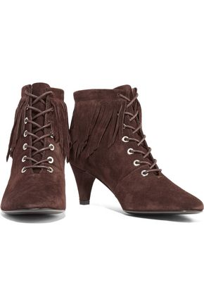 MAJE Fox fringed suede ankle boots