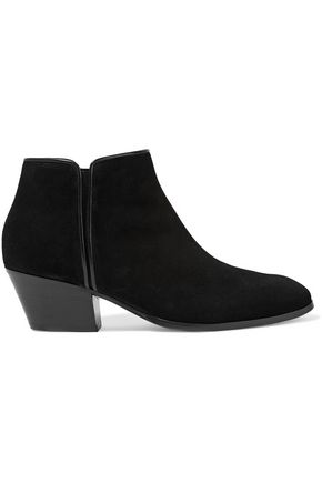 GIUSEPPE ZANOTTI Leather-trimmed suede ankle boots