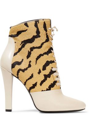 3.1 PHILLIP LIM Harleth lace-up suede and glossed-leather ankle boots
