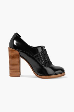 3.1 PHILLIP LIM Claridge woven-paneled glossed-leather pumps