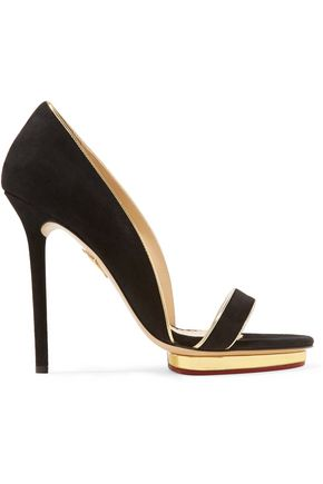 CHARLOTTE OLYMPIA Christine metallic leather-trimmed suede sandals