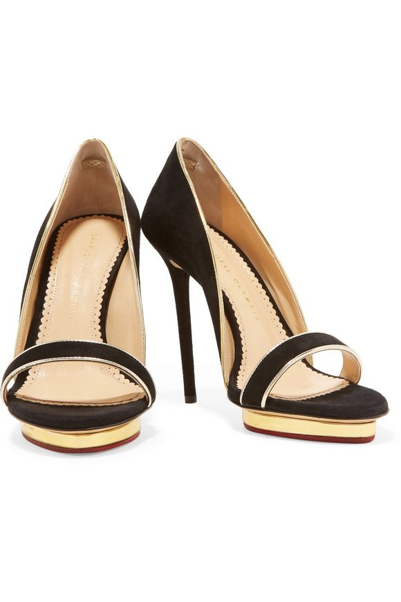 Christine metallic leather-trimmed suede sandals | CHARLOTTE OLYMPIA | Sale  up to 70% off | THE OUTNET