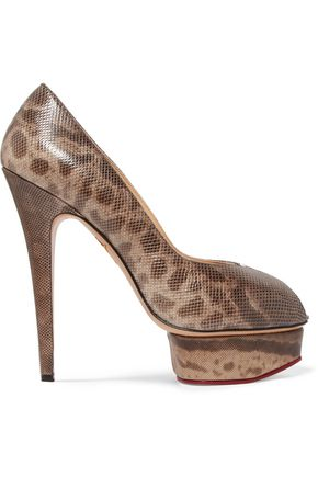CHARLOTTE OLYMPIA Daphne snake-effect leather pumps