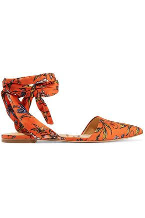 SAM EDELMAN Brandie printed satin point-toe flats