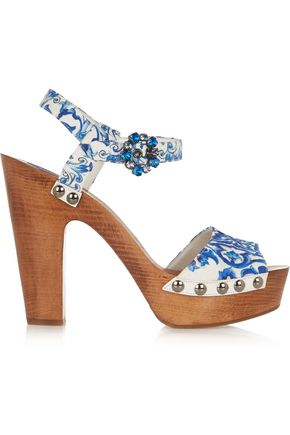 DOLCE & GABBANA Embellished printed faille wedge sandals